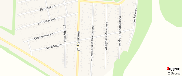 Улица 8 Марта на карте села Бижбуляка с номерами домов