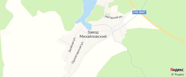 Карта села Завода Михайловского города Чайковского в Пермском крае с улицами и номерами домов