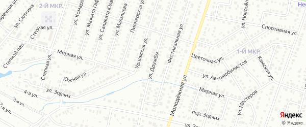 Улица Дружбы на карте Нефтекамска с номерами домов