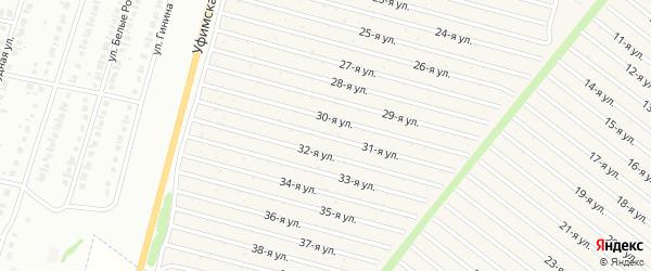 31-я улица на карте СНТ Радуга-1 с номерами домов
