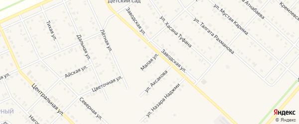 Малая улица на карте села Нижнеяркеево Башкортостана с номерами домов