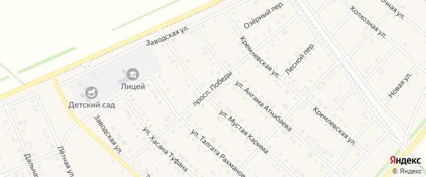 Проспект Победы на карте села Нижнеяркеево с номерами домов