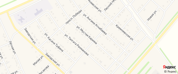 Улица М.Карима на карте села Нижнеяркеево с номерами домов