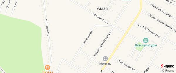 Луговая улица на карте села Амзи с номерами домов