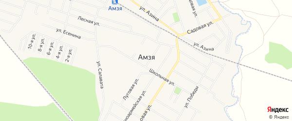 Карта села Амзи города Нефтекамска в Башкортостане с улицами и номерами домов