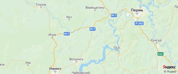 Карта Большесосновского района Пермского края с городами и населенными пунктами