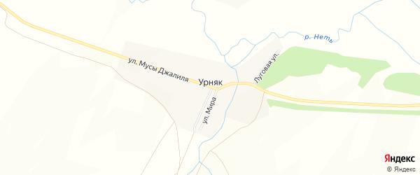 Карта поселка Урняка в Оренбургской области с улицами и номерами домов
