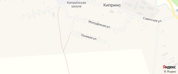 Полевая улица на карте деревни Киприно Пермского края с номерами домов