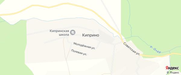 Карта деревни Киприно в Пермском крае с улицами и номерами домов