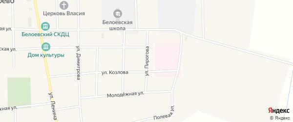 Улица Пирогова на карте села Белоево Пермского края с номерами домов