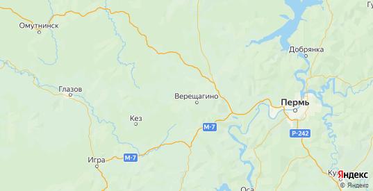 Карта Верещагинского района Пермского края с городами и населенными пунктами