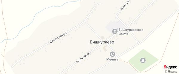 Советская улица на карте села Бишкураево Башкортостана с номерами домов