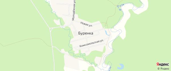 Карта поселка Буренки города Чайковского в Пермском крае с улицами и номерами домов