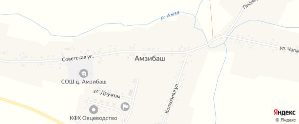 Молодежная улица на карте деревни Амзибаша с номерами домов