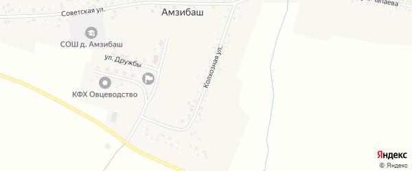 Колхозная улица на карте деревни Амзибаша с номерами домов