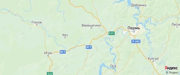 Карта Очерского района Пермского края с городами и населенными пунктами