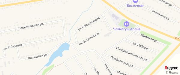 Улица Энтузиастов на карте села Чекмагуш Башкортостана с номерами домов