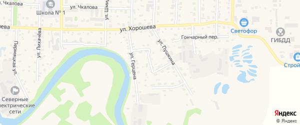 Улица Назукина на карте Кудымкара с номерами домов