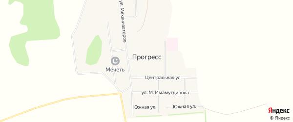 Карта села Прогресса в Башкортостане с улицами и номерами домов