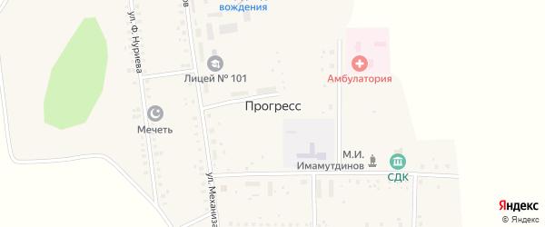 Центральная улица на карте села Прогресса с номерами домов