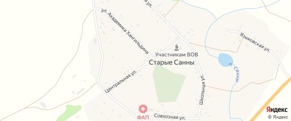Улица Академика Хангильдина на карте села Старых Санны с номерами домов