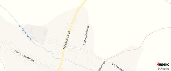 Подгорный переулок на карте села Трунтаишево Башкортостана с номерами домов