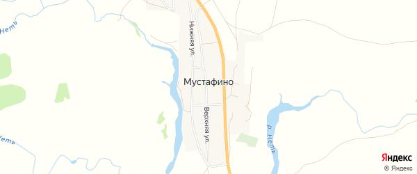 Карта села Мустафино в Оренбургской области с улицами и номерами домов