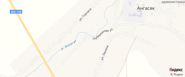 Набережная улица на карте села Ангасяка с номерами домов