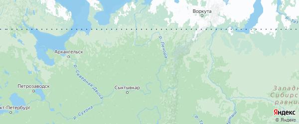 Карта Коми с городами и районами