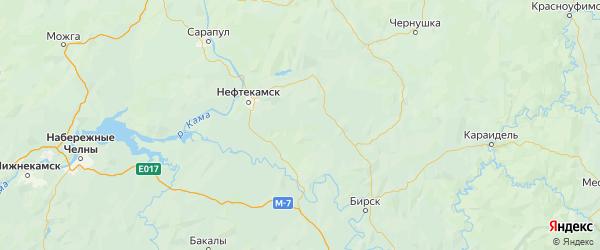 Карта Калтасинского района Республики Башкортостана с городами и населенными пунктами