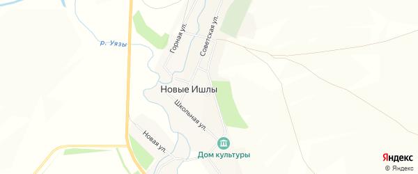 Карта села Новые Ишлы в Башкортостане с улицами и номерами домов