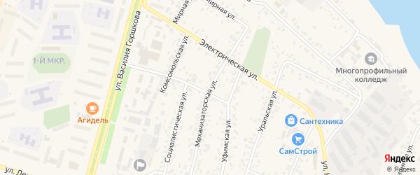 Механизаторская улица на карте Дюртюлей с номерами домов