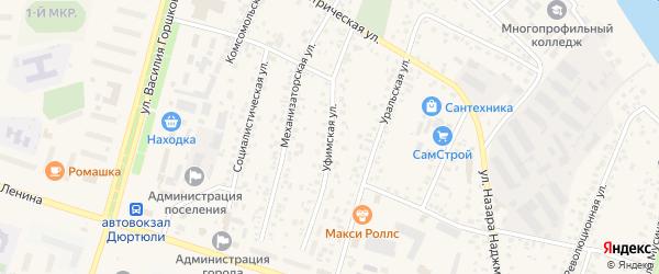 Уфимская улица на карте Дюртюлей с номерами домов