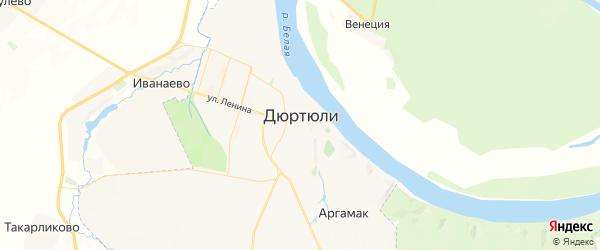 Карта Дюртюлей с районами, улицами и номерами домов