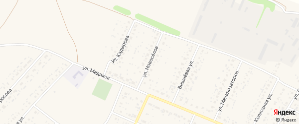 Улица Новоселов на карте села Раевского с номерами домов