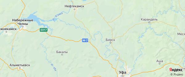Карта Дюртюлинского района республики Башкортостан с населенными пунктами и городами