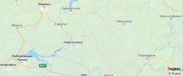 Карта Янаульского района Республики Башкортостана с городами и населенными пунктами