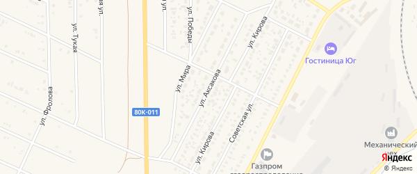 Улица Аксакова на карте села Раевского с номерами домов