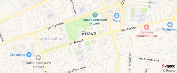 Улица Хузина на карте Янаула с номерами домов