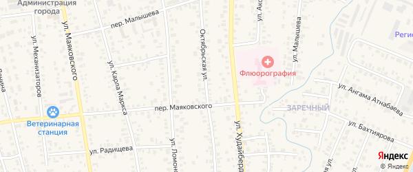 Октябрьская улица на карте Янаула с номерами домов