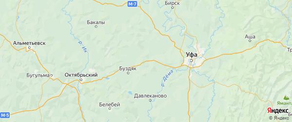 Карта Благоварского района Республики Башкортостана с городами и населенными пунктами