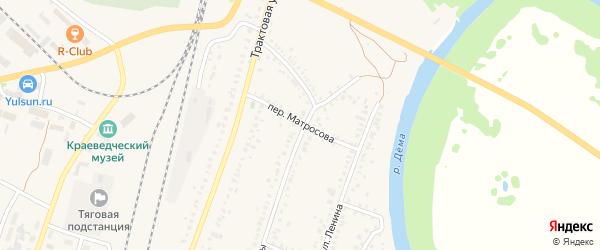 Переулок Матросова на карте села Раевского в Башкортостане с номерами домов