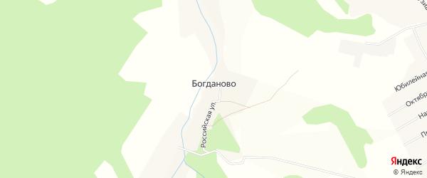 Карта деревни Богданово в Пермском крае с улицами и номерами домов