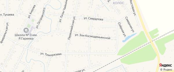 Улица З.Космодемьянской на карте Янаула с номерами домов