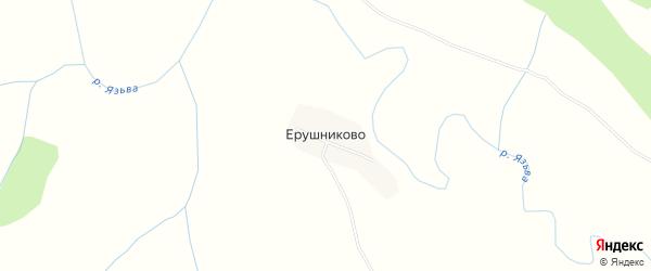 Карта деревни Ерушниково в Пермском крае с улицами и номерами домов