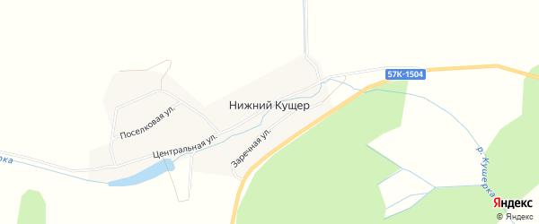 Карта деревни Нижнего Кущера в Пермском крае с улицами и номерами домов