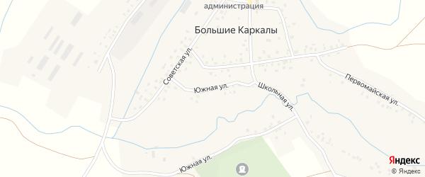 Южная улица на карте села Большие Каркалы с номерами домов