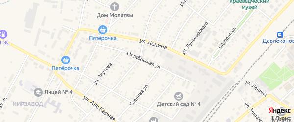 Октябрьская улица на карте Давлеканово с номерами домов