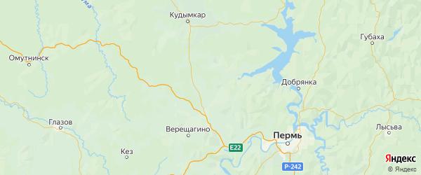 Карта Карагайского района Пермского края с городами и населенными пунктами