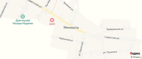Улица Крупской на карте села Миништы с номерами домов